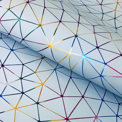 """Кожзам """"Геометрия"""" Голографическое тиснение на небесно-голубом 35х45 см. Супер-тонкий!"""