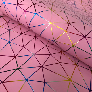 """Кожзам """"Геометрия"""" Голографическое тиснение на розовом 35х45 см. Супер-тонкий!"""