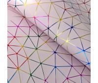 """Кожзам """"Геометрия"""" Голографическое тиснение на нежно-розовом 35х45 см. Супер-тонкий!"""