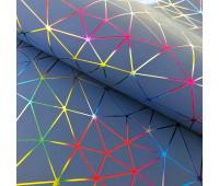 """Кожзам """"Геометрия"""" Голографическое тиснение на синем 35х45 см. Супер-тонкий!"""