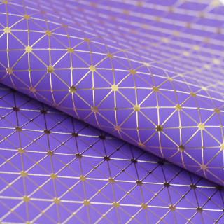 """Кожзам """"Геометрия"""" Золотое тиснение на Фиолетовом 33х47 см. Супер тонкий!"""