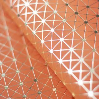 """Кожзам """"Геометрия"""" Золотое тиснение на Оранжевом 35х50 см. Супер тонкий!"""