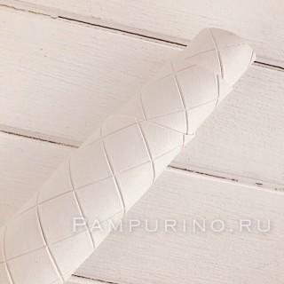 Искусственная кожа с тиснением ромбик Цвет-белый 30х70см