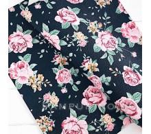 Искусственная кожа Розовые розы на черном 50х35см
