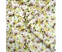 """Кожзам Матовый,  мелкий цветочный принт """"Желто-персиковый"""" 35х47см"""