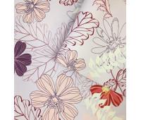 Кожзам Цветочный принт на лиловом фоне 33 х 46 см.