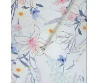 Кожзам Цветочный принт на белом фоне 28х67 см.