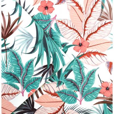 Кожзам Экзотические цветы на светло-пудровом  25х67см.