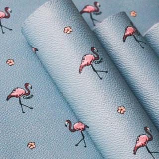 Кожзам  Фламинго на бирюзовом 34 х 67 см.