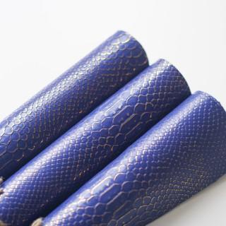 Кожзам под крупную Рептилию с золотым тиснением , Синий 45х34см