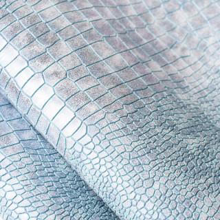 Кожзам под крупную рептилию Перламутровый, Цвет Голубой 35х45 см.