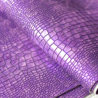 Кожзам под крупную рептилию Перламутровый, Цвет-Фиолетовый  35х47 см.