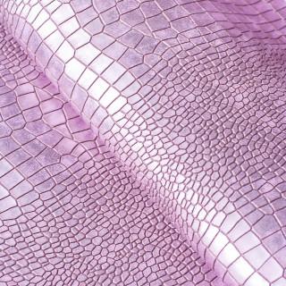 Кожзам под крупную рептилию Перламутровый, Цвет-Розовый  35х43 см.