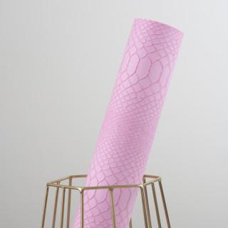 Кожзам под Рептилию крупную, Цвет - Розовый 35х45 см.