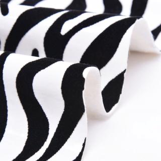 Тонкий Кожзам Зебра с 3д бархатным эффектом, Цвет-Черно-белый 35х50см.