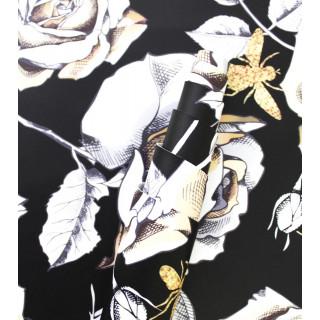 Кожзам Цветы Роза на черном  30х66см