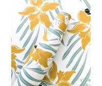 Кожзам Цветы Мятно-желтые 36х46см