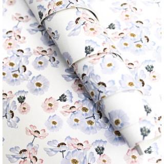 Кожзам Васильково-лиловые цветы  30х67см