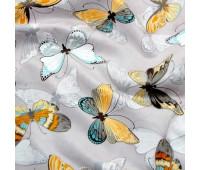"""Ткань под замшу """"Бабочки на сером фоне"""" Не тянется! 33 х 71 см"""