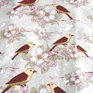 "Ткань под замшу ""Птицы с цветами"" Не тянется! 33 х 71 см"