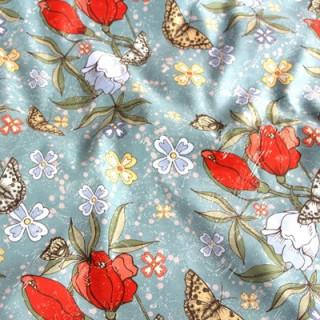"""Ткань под замшу """"Бабочки с цветами"""" Не тянется! 33 х 71 см"""