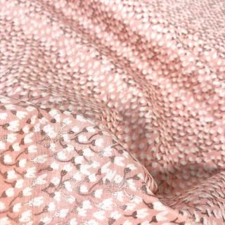 Ткань мелкие белые цветочки с розовым глиттером на розовом 40х55см.