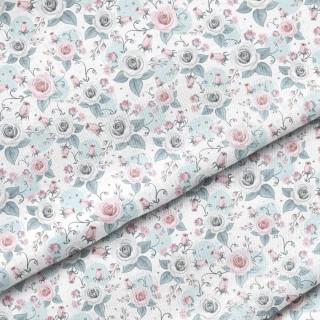 """Ткань Польский премиум хлопок """"Серые и розовые розы на белом"""" 40х50 см."""