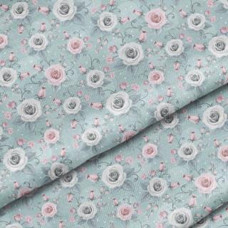 """Ткань Польский премиум хлопок """"Серые и розовые розы на мятном"""" 40х50 см."""