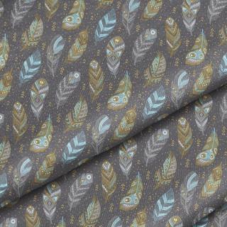 """Ткань Польский премиум хлопок """"Разноцветные перья на серо-коричневом"""" 40х50 см."""