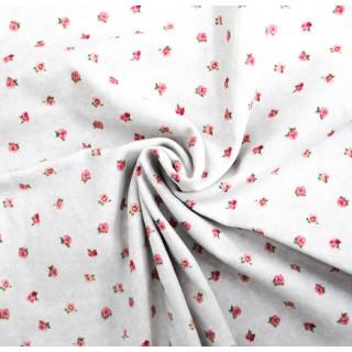 Ткань Хлопок, Маленькие розочки на бело-сером 40 х 50см.