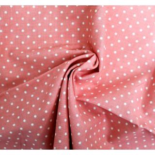 Ткань Хлопок, Белый горошек на розовом 55 х 48см.