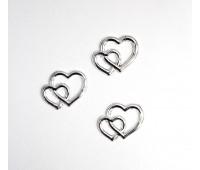 Набор серебряных сердечек из 3  шт